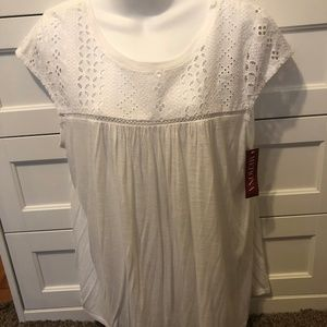 NWT Merona White T-Shirt XL Short Sleeve TopBlouse